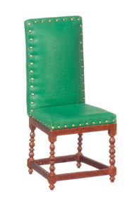 Leather Side Chair - Green and Walnut