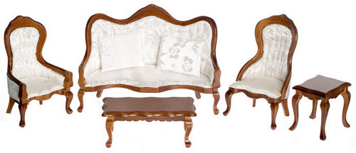 Victorian Living Room Set - White and Walnut