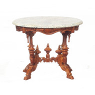 Marble Top Pedestal Table - Walnut