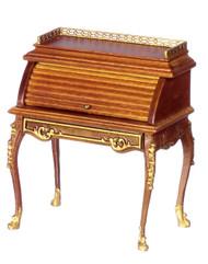 Rolltop Desk with Gold Trimpt - Walnut