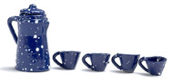 Dollhouse City - Dollhouse Miniatures Coffee Set - Blue Spatter Coffee