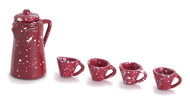 Dollhouse City - Dollhouse Miniatures Coffee Set - Red Spatter Coffee