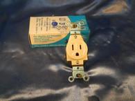 Leviton No 5015-I Single Flush Receptacle, Ivory 3 Wire, Surplus box of 10