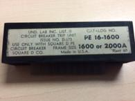 Square D PE 16-1600 Rating Plug for PE Frame Circuit Breaker, Used