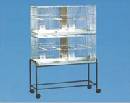 This image displays two units stacked on each other with the optional stand included. The pricing displayed is for one split cage unit. Does not include stand and second cage unit.