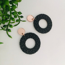 Statement Earrings - Faux Rattan - Black - Rose Gold Mirror Top - 0022x