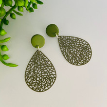 Statement Earrings - Fine Metal - OLIVE GREEN LACE - 1428