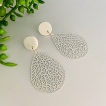 Statement Earrings - Fine Metal - WHITE LACE - 1412