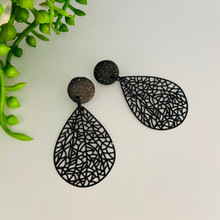 Statement Earrings - Fine Metal - BLACK LACE - 1474