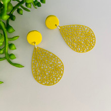 Statement Earrings - Fine Metal - CITRUS LIME LACE - 1142