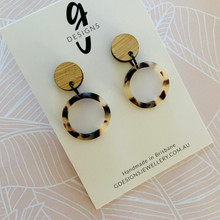 Statement Earrings  - Bamboo & Tortoise Shell - 2158