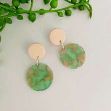 Statement Earrings - Pastel - Tortoise Shell - Circle (small) - Pale Pink Stud Top - 2412