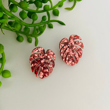 MEGA STUD EARRINGS - MONSTERA LEAF - Pink -  Glitter Acrylic - 2467