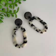Statement Earrings - Acrylic - Tortoise Shell - Hollow Oval - Black/White -  Black Clay Stud Top - 2562