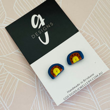 Stud Earrings - 'BOHO RAINBOW' -  Vivid Blue/Rust/Yellow - 3711