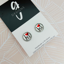 Stud Earrings - Bezel Set -  'I LOVE MY CAT v 4'