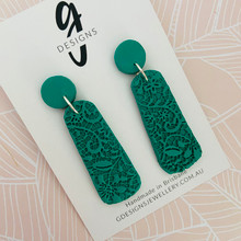 Statement Earrings - 'ANTIQUE LACE' - JADE GREEN - Drops
