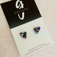 Mini Stud Earrings - Acrylic - Mini Hearts - Rainbow Glitter