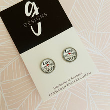 Stud Earrings - Bezel Set -  'LOVE CATS'