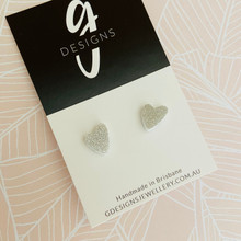 Mini Stud Earrings - Acrylic - Mini Hearts - Fine Silver Glitter