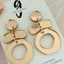 Statement Earrings - Acrylic -  Rose Gold Mirror - Trios
