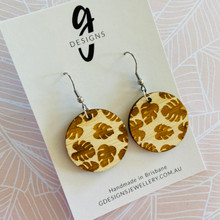 Statement Earrings  - Hooks - Monstera Embossed - Bamboo