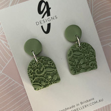 Statement Earrings - 'ANTIQUE LACE' - SAGE GREEN - Arch Half