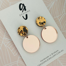 Statement Earrings - Acrylic -  Rose Gold Mirror Plain - Bronze Glitter Stud Top