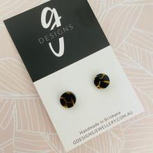 Mini Stud Earrings - Acrylic - Mini Circle - Black Tiger