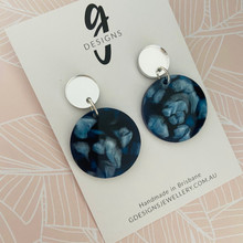 Statement Earrings - Acrylic -  Deep Blue Sea Plain Circle - Silver Mirror Stud Top