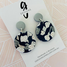 Seconds - Statement Earrings - Navy/Silver/White - Party Dangles