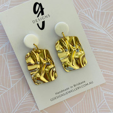 Statement Earrings - Rippled Metal - Rectangles - SHINY GOLD - White Clay  Stud Top