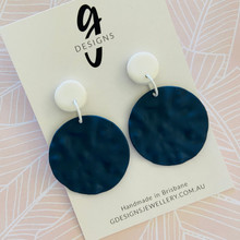 Statement Earrings - Rippled Metal - Circles - NAVY  - White Clay Stud Top