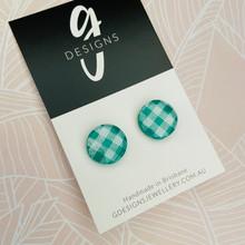 Stud Earrings - Clay - GINGHAM - Regular Size - Circle - EMERALD GREEN