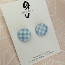 Mega Stud - Stud Earrings - Clay - GINGHAM - Mega Size - Circle - SMOKEY BLUE