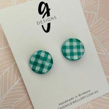 Mega Stud - Stud Earrings - Clay - GINGHAM - Mega Size - Circle - EMERALD GREEN