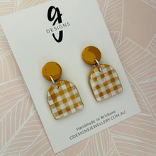 Statement Earrings - Clay - GINGHAM - Arches - MUSTARD