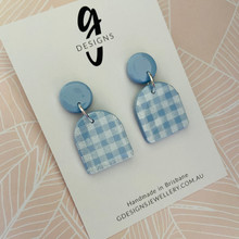 Statement Earrings - Clay - GINGHAM - Arches - SMOKEY BLUE