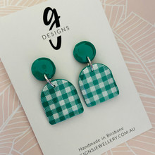 Statement Earrings - Clay - GINGHAM - Arches - EMERALD GREEN