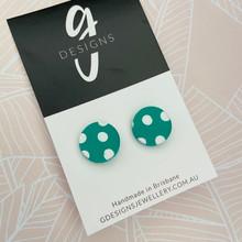Stud Earrings - Clay - SPOTTY DOTTY - Regular Size - EMERALD GREEN