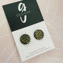Stud Earrings - Clay - NAVY CLASSICS - Regular Size - Navy/Gold