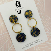 Statement Earrings - Clay - Trios - NAVY CLASSICS - Navy/Gold - Circle Dangle
