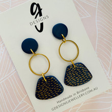 Statement Earrings - Clay - Trios - NAVY CLASSICS - Navy/Gold - Abstract Dangle
