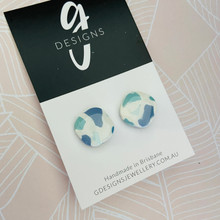 Stud Earrings - Clay - BLUE HUES - Regular Size - Rounded Square Shape