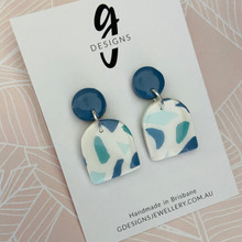 Statement Earrings - Clay - BLUE HUES - Arch Half