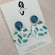 Statement Earrings - Clay - BLUE HUES - Hexagon Large