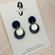 Statement Earrings - Clay - NAVY CLASSICS - Navy/Silver - Mini Dangles