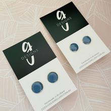 'SMOKEY BLUE' Clay Bezel Studs