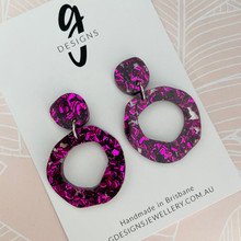 Statement Earrings - VIOLET/MAGENTA - GLITTER - Hollow Organic Shape