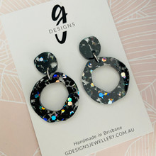 Statement Earrings - BLACK - GLITTER - Hollow Organic Shape